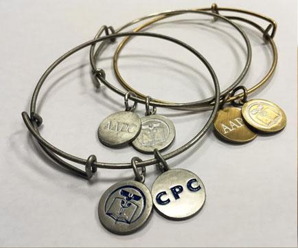 AAPC Charm Bracelet: AAPC Silver with Blue Logo