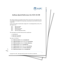 ICD-10-CM Asthma Quick Reference